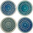 "Stone & Beam Medallion Round Stoneware 4-Coaster Set, 4.25"", Multicolor"