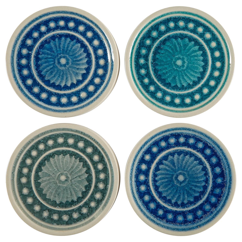 Multicolor 4 x 4 GFW7Z AMZ17-13 Stone /& Beam Medallion Square Stoneware 4-Coaster Set 4 x 4