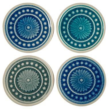 Stone & Beam Medallion Round Stoneware Tile Coaster Set - Set of 4, 4.25 Inch, Teal and Blue