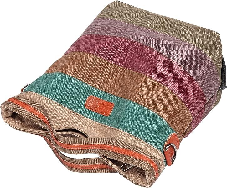 986637bfd8d91 Defeng Canvas Schultertasche Umhängetasche Bunte Streifen Handtasche  Messenger Damenhandtasche (Bunte-B002)