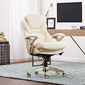 Serta Works Ergonomic Executive Office Chair with Back in Motion Technology, Ivory Bonded Leather