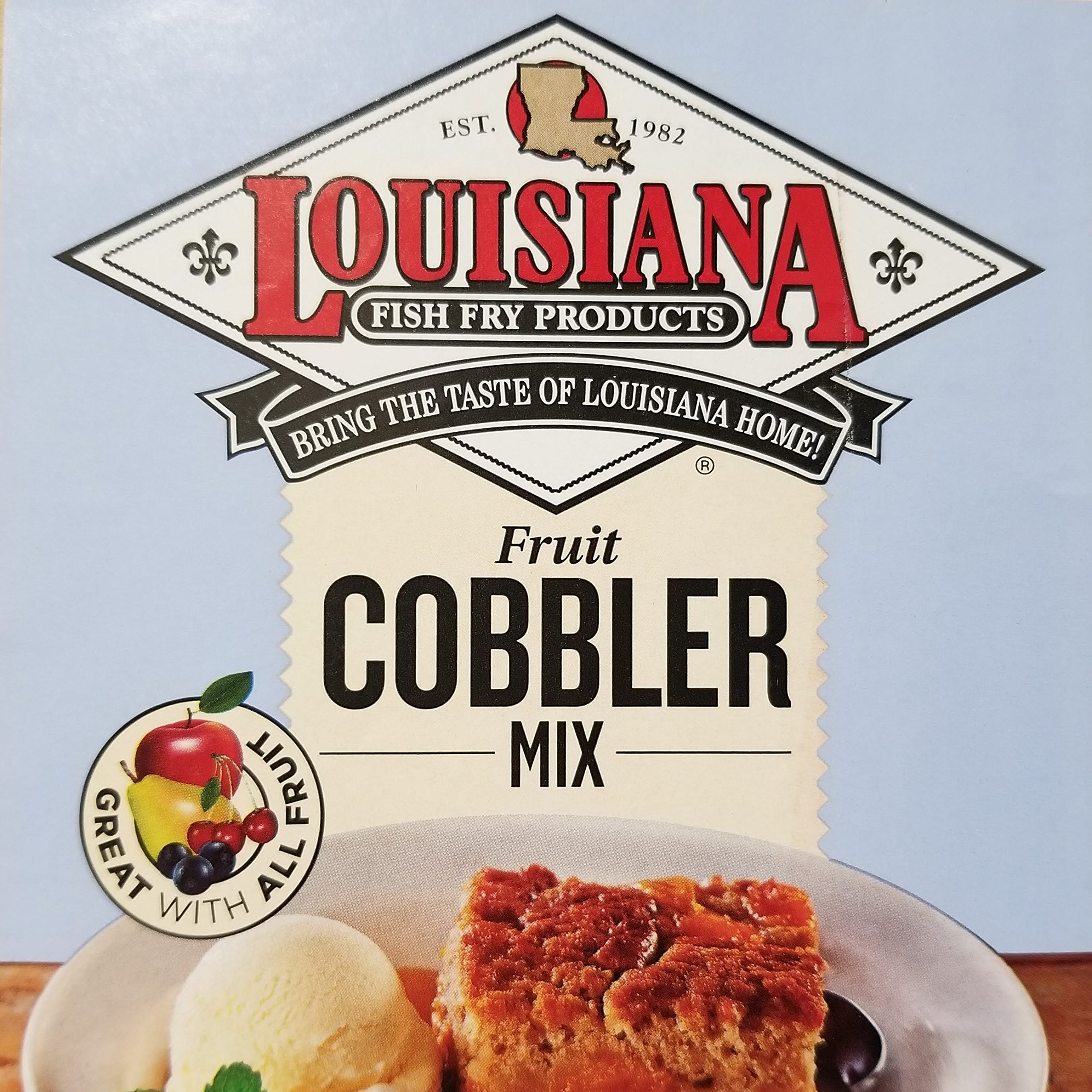 Louisiana Fish Fry Southern Fruit Cobbler Mix 2lb Package - Makes 10 8oz Servings