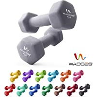 Wacces Neoprene Dipped Coated Set of 2 Dumbbells Hand Weights Sets Non Slip Grip