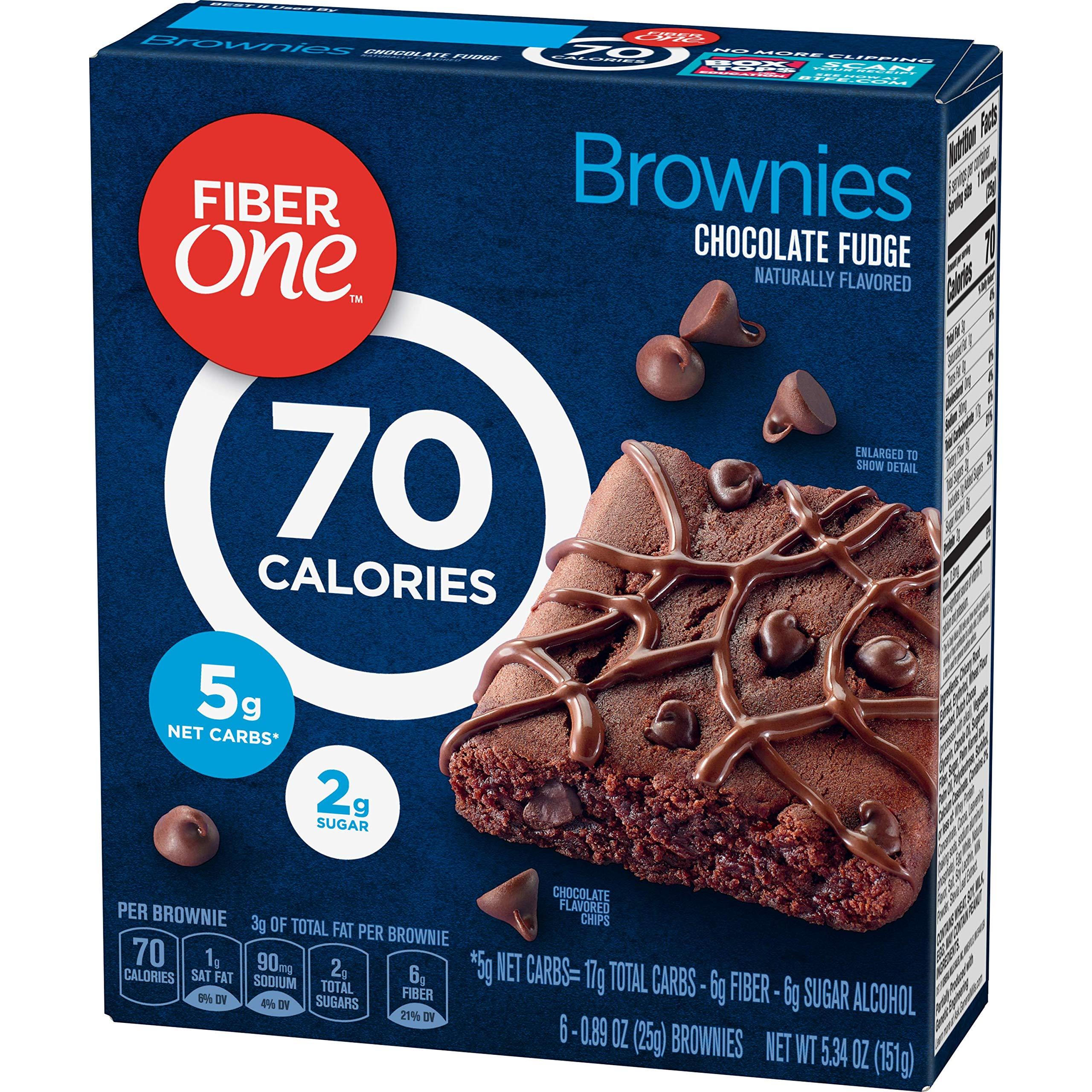 Fiber One Brownies, 70 Calorie Bar, 5 Net Carbs, Snacks, Chocolate Fudge, 6ct by Fiber One