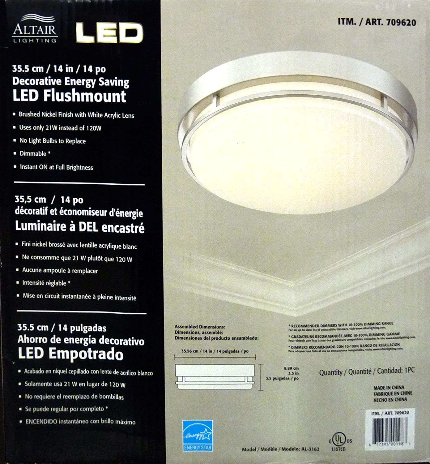 Altair Lighting LED 14-Inch Flush mount Decorative Light Fixture, 21W (120w Equivalent), 3000K, Brushed Nickel Finish - AL-3152 by Altair Lighting ...