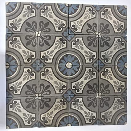 Amazon Com Keren Stone French Vintage Blue Flower Tiles Backsplash