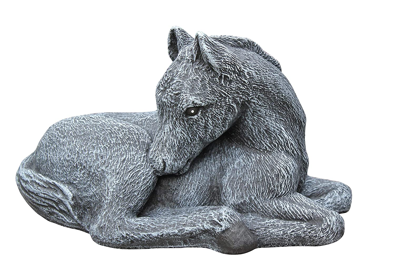 Garden ornament Horse Foal, Cast stone, Slate gray Tiefes Kunsthandwerk GbR