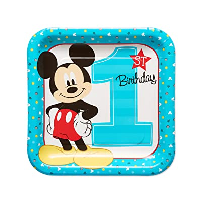 American Greetings 5795244 Mickey Mouse First Birthday Dinner/Lunch Plates, 8-Count: Toys & Games