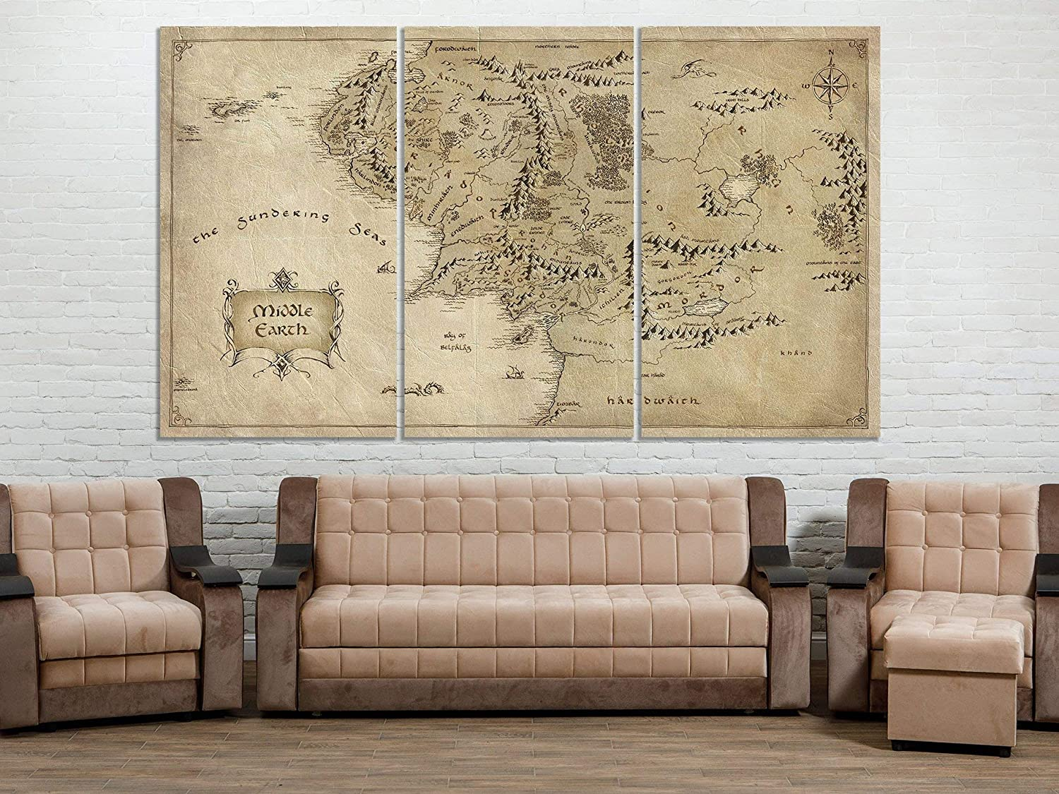 Amazon Com Happy Art Lord Of The Rings Map Middle Earth Map
