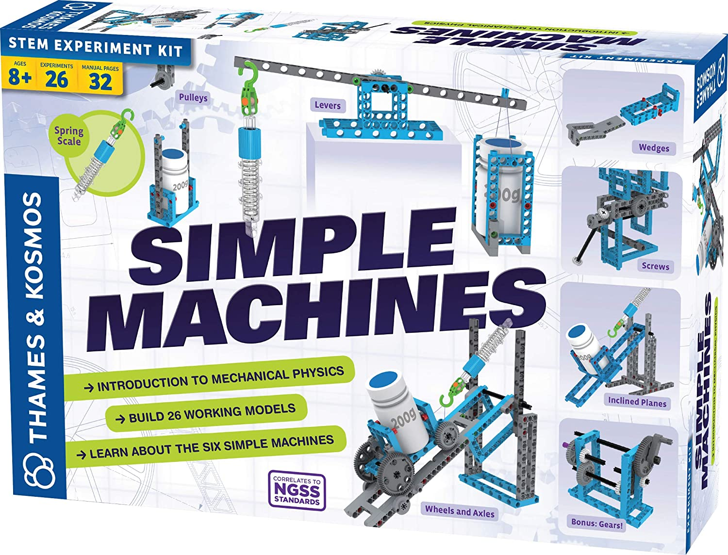Thames & Kosmos Simple Machines Science Experiment & Model Building Kit,  Introduction to Mechanical Physics, Build 26 Models to Investigate The 6
