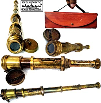 """14/"""" Nautical Marine Leather Stitched Solid Brass Spyglass Telescope in Wood box"""