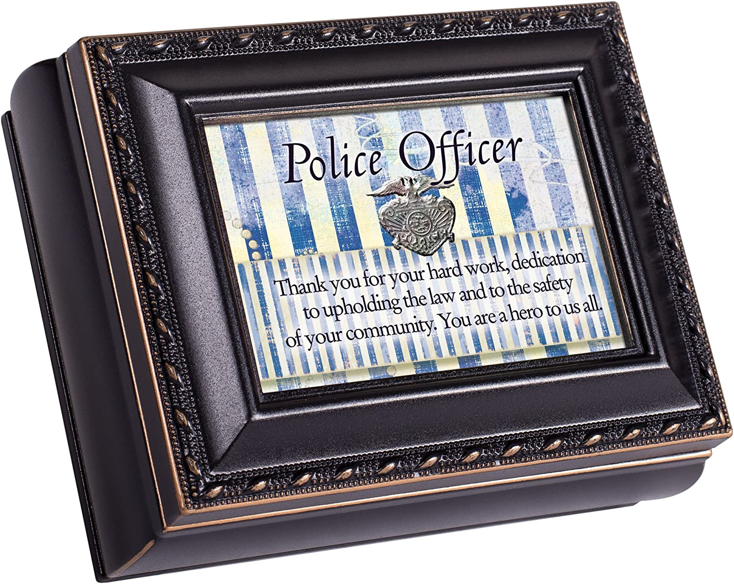 Cottage Garden Police Officer Black Rope Trim 4.5 x 3.5 Tiny Square Jewelry Keepsake Box