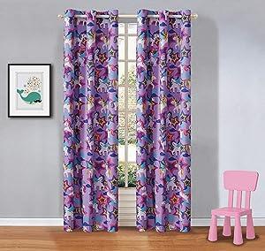 Elegant Homes Multicolor Purple Unicorn Little Pony Design Girls/Kids Room Window Curtain Treatment Drapes 2 Piece Set with Grommets (Purple Unicorn)