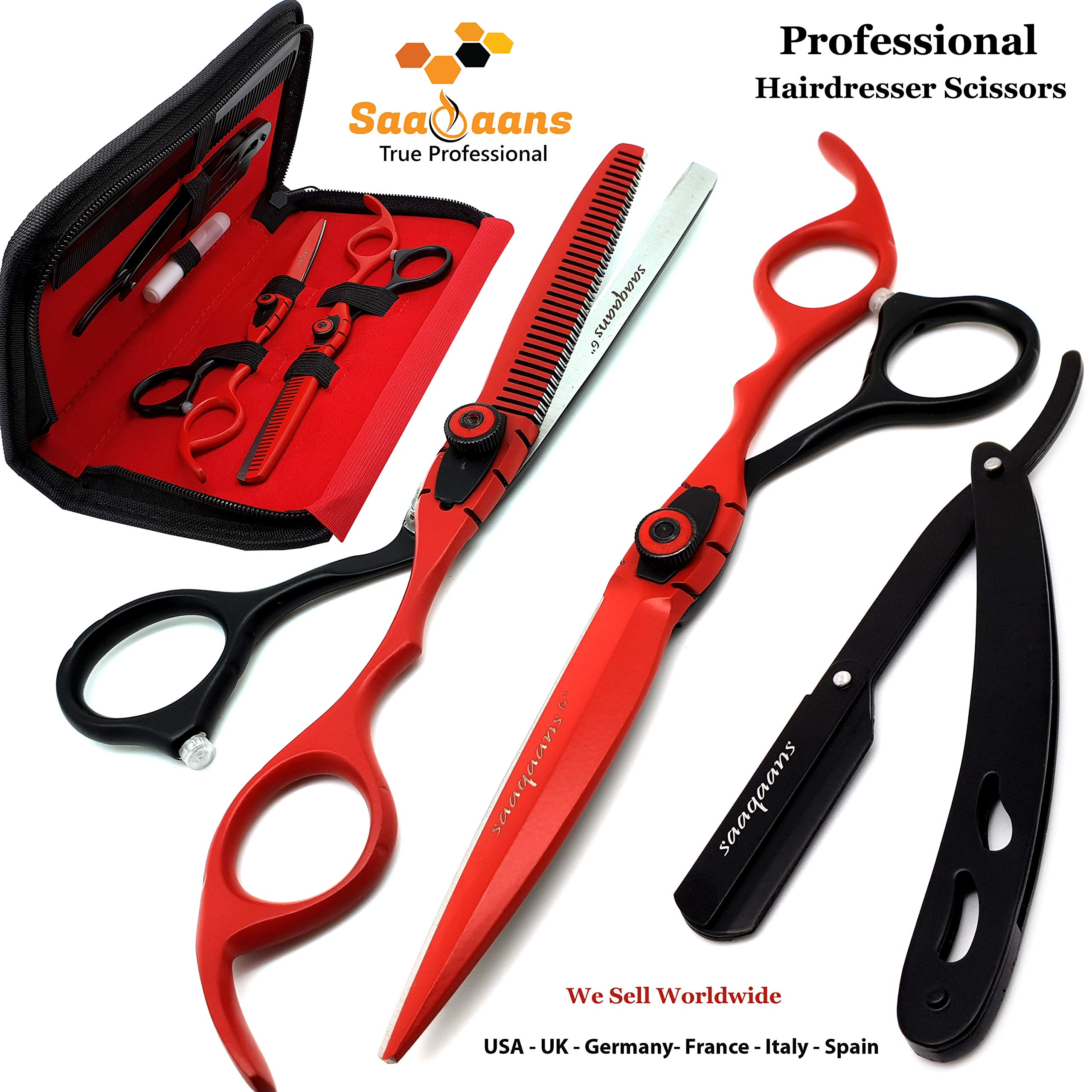 Saaqaans MSS-04 Professional Barber Scissors Set - Package includes Haircut Scissor, Thinning Shear, Straight Razor, 10 x Derby Double Edge Blades & Hair Comb in Stylish Scissor Case (Red & Black USA) by Saaqaans