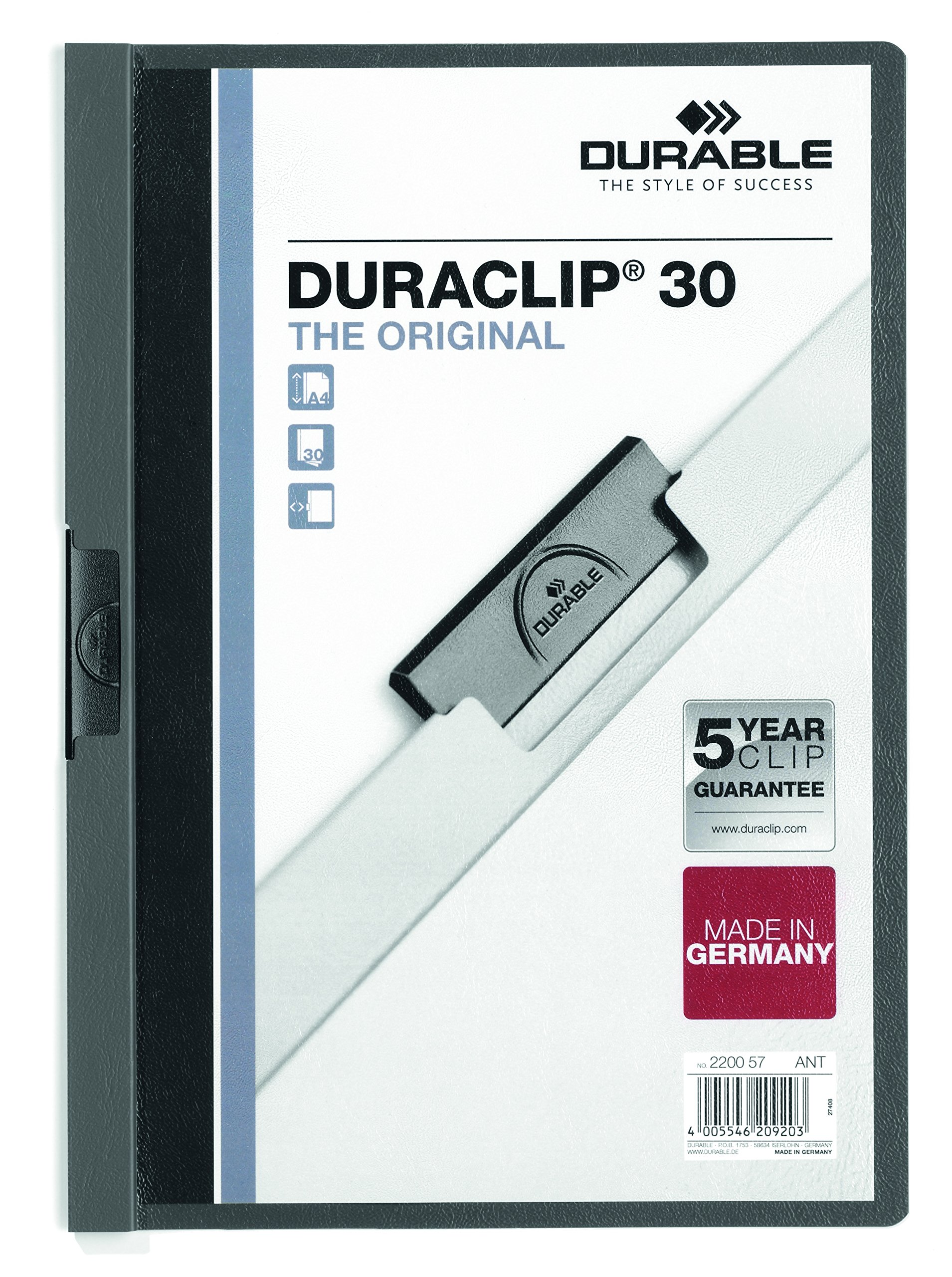 DURABLE Vinyl DURACLIP Report Cover, Letter, Holds up to 30 Pages, Clear/Graphite, 25 per Box (220357)