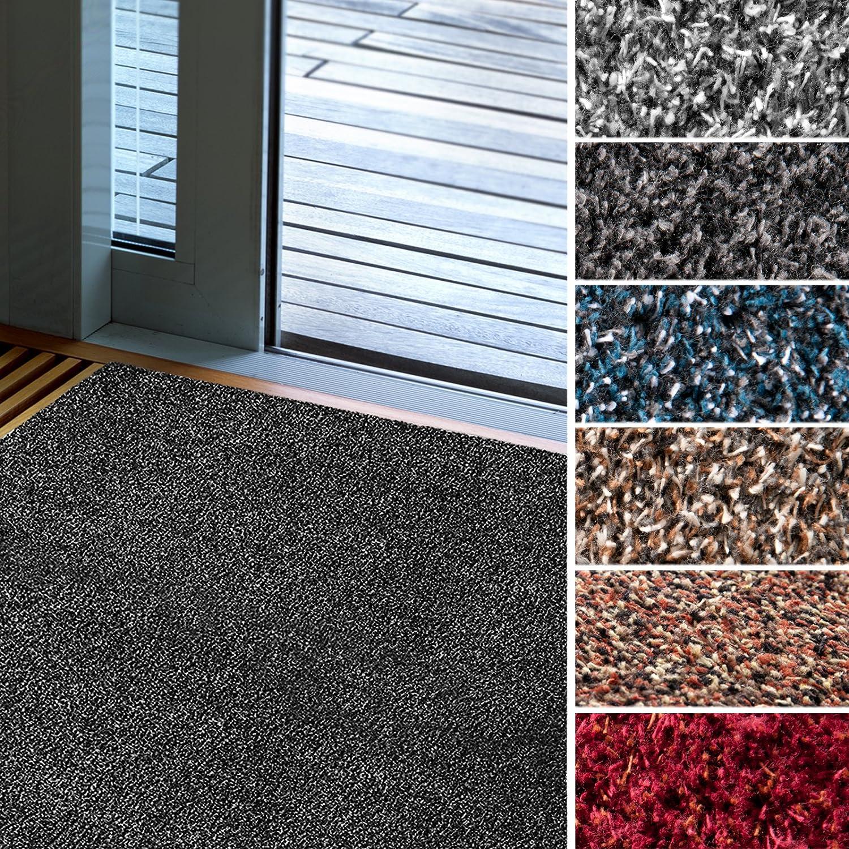 Fußmatte Karat für Eingangsbereiche   extra saugstarke Schmutzfangmatte aus Baumwolle   rutschfest   waschbar   zahlreiche Größen   viele Farben   100x250 cm   Rot