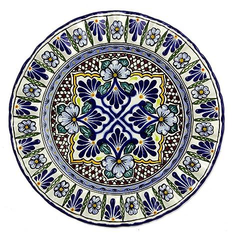Amazon.com: NOVICA Multicolor Floral placa de cerámica ...