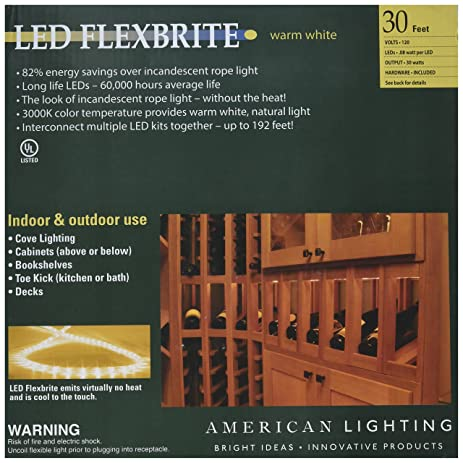 Amazon american lighting flexbrite led rope lighting kit with american lighting flexbrite led rope lighting kit with mounting clips 3000k warm white 30 mozeypictures Images
