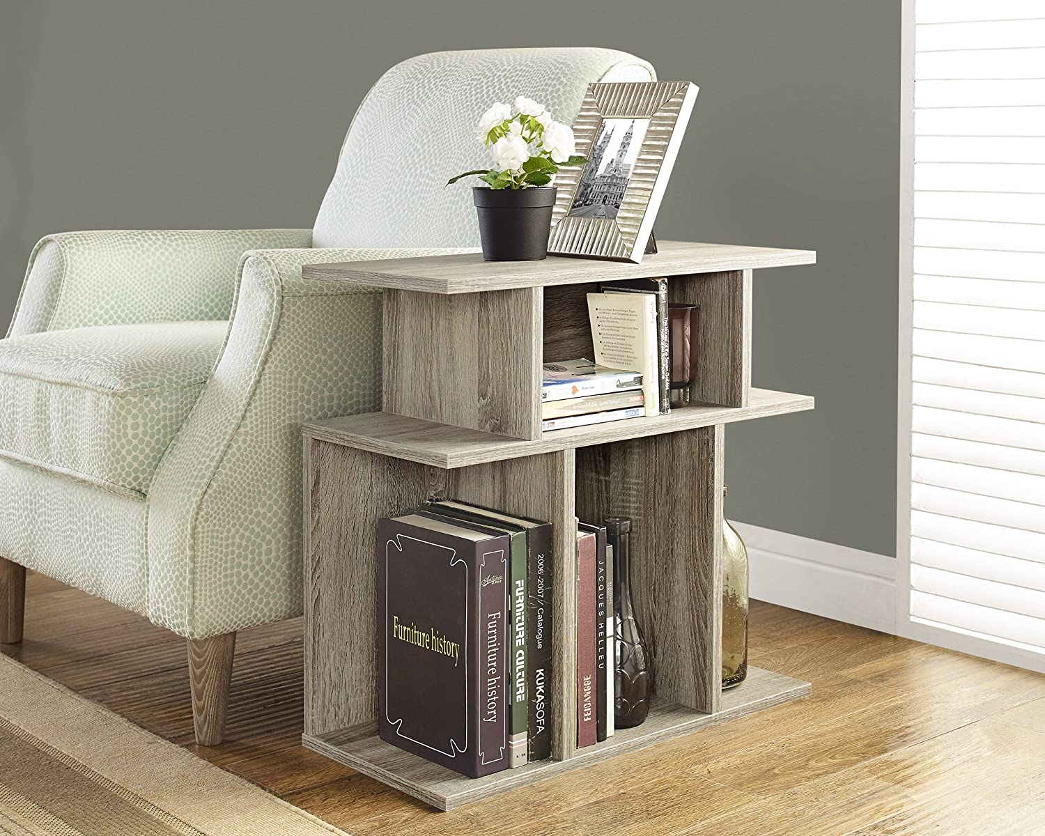 Amazon.com: Monarch Specialties Dark Taupe Reclaimed Look Accent Side Table,  24 Inch: Kitchen U0026 Dining