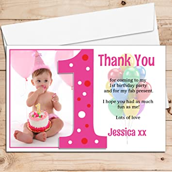 10 Personalised Girls First 1st Birthday Party Thank You Photo Cards