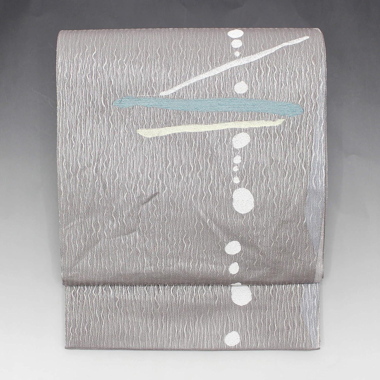 リメイク素材に最適! おしゃれ袋帯 リサイクル 正絹 灰 銀 水玉 線 抽象 デザイン 粋【送料無料】 【中古】 リユース   B07BWC56GT