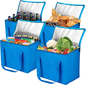 Insulated Grocery Bag for Food Delivery with Zipper Top, Cooler Shopping Tote Bags, Blue, 4 Pack, Large, Collapsible