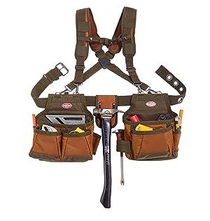 Bucket Boss Airlift 2 Bag Tool Belt with Suspenders in Brown, 50100 (Color: Brown, Tamaño: Pack of 1)