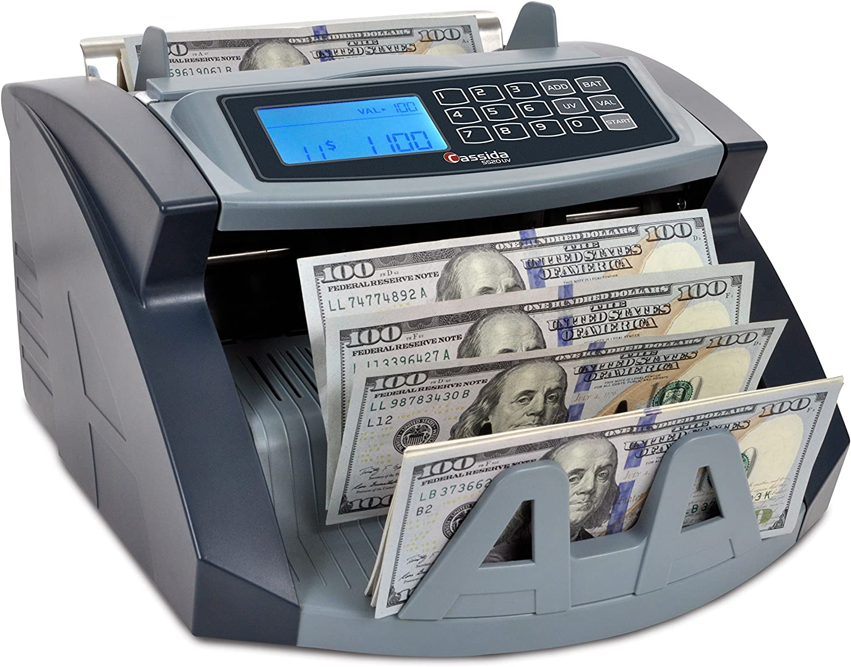 Cassida USA Money Counter 30 UV Counterfeit Bill Detection w/ValuCount  Mode to Batch Financial Reports, Black, Silver (30UV)