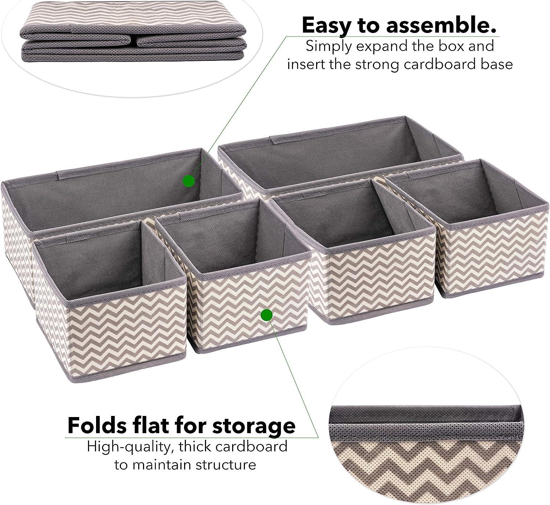 Organizador de cajones y tocadores de tela – Cajas de almacenamiento plegables para la guardería del bebé – Organiza tu maquillaje y artículos esenciales de baño – tu armario y dormitorio: Amazon.es: