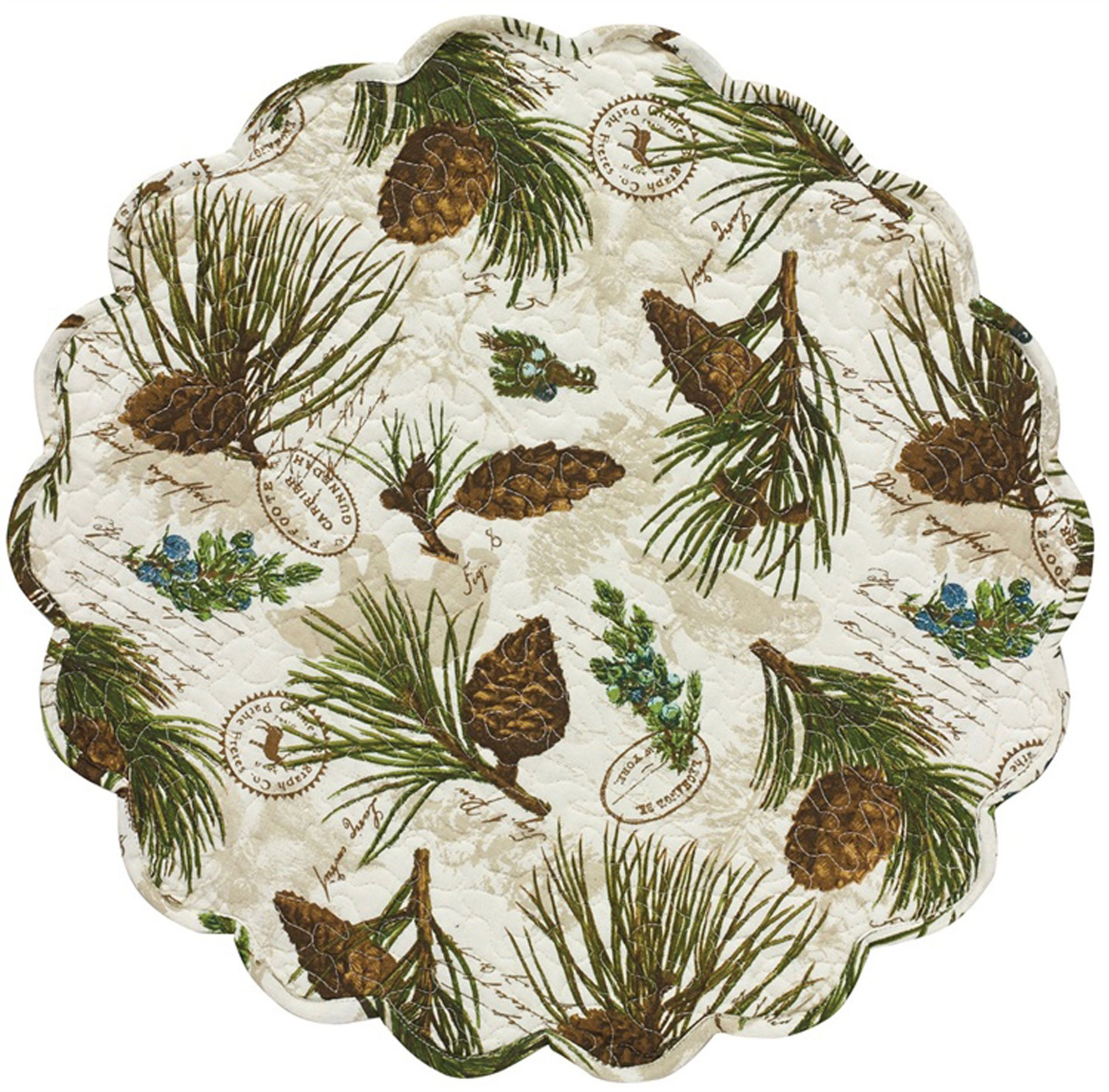 Walk in the Woods Round Quilted Placemat