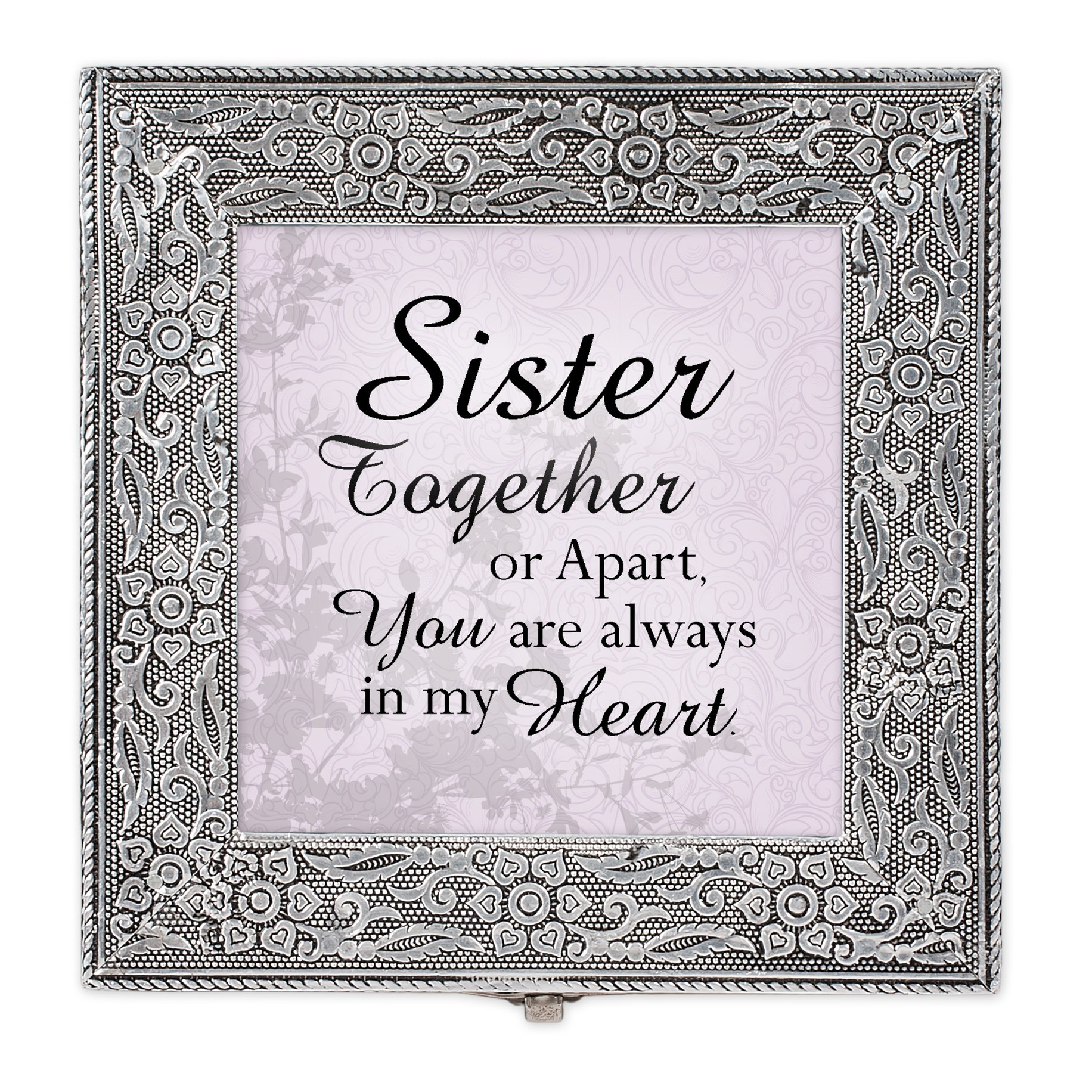Cottage Garden Sister Together Always in Heart Silver Stamped Metal Jewelry Music Box Plays Tune That's What Friends are for by Cottage Garden (Image #3)