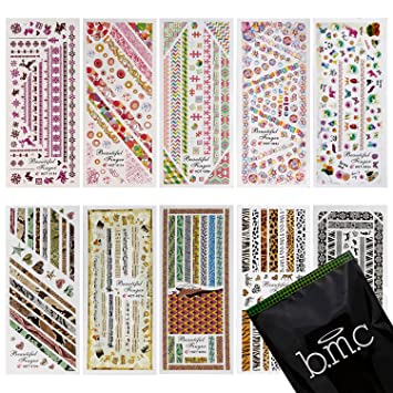 Amazon.com: Whats Up Nails - Nail Vinyls Variety Pack 4pcs (X-pattern,  Moroccan, Scales, Hearts Nail Stencils), Stickers for Nail Art Design:  Beauty