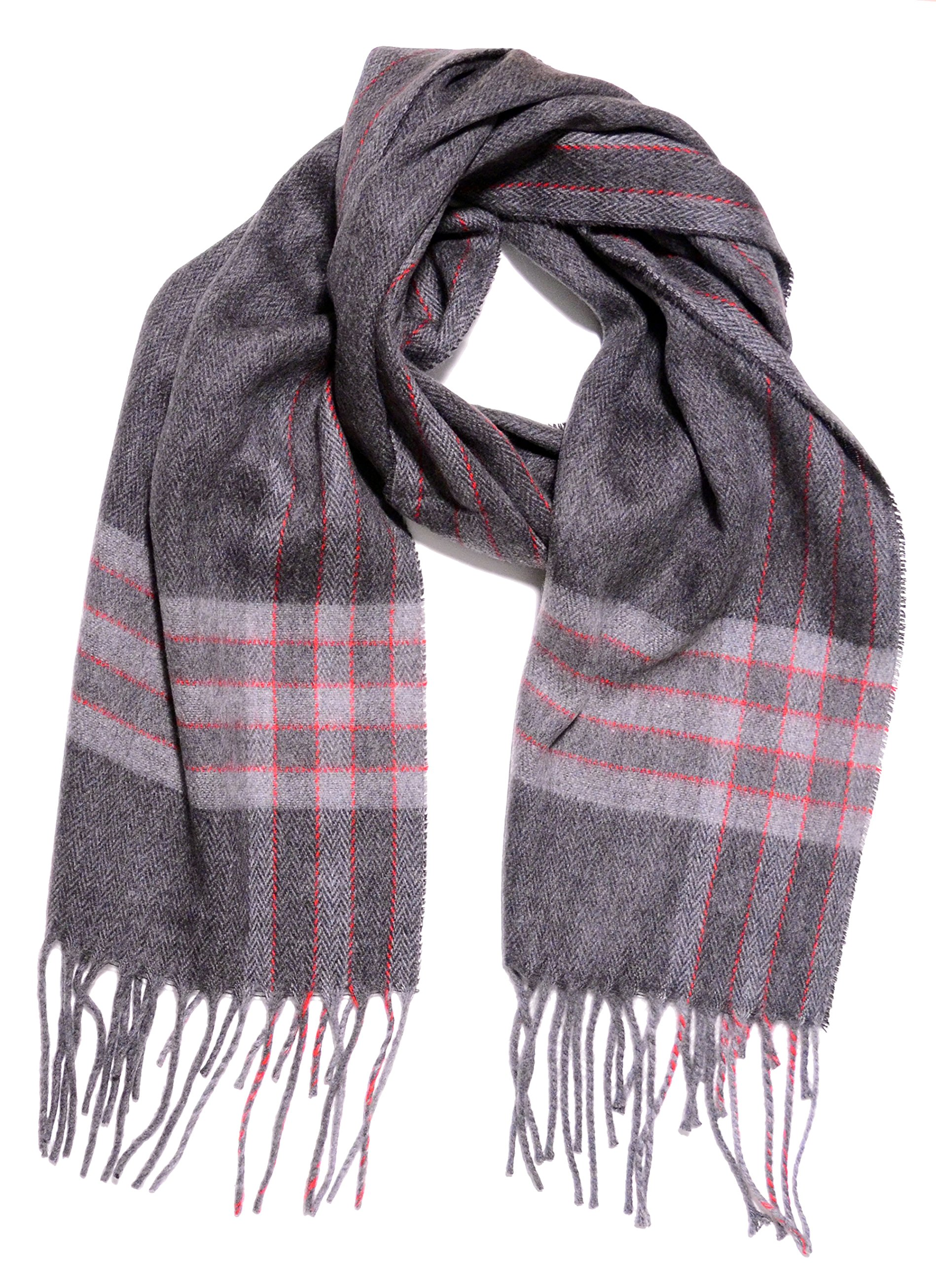Geoffrey Beene Fashion Pattern Woven Scarf Made in Italy Cashme Mid Grey