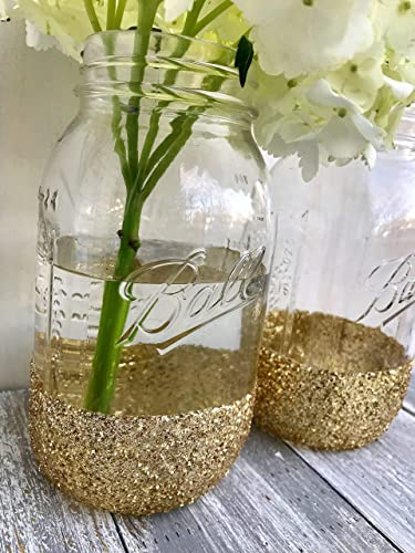 Mason Jar Wedding Centerpieces.Amazon Com Glitter Dipped Mason Jar Centerpiece For Table Gold