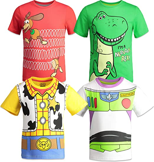 Boys Toddler Toy Story T-Shirt Woody Buzz Forky Rex Hamm Cotton