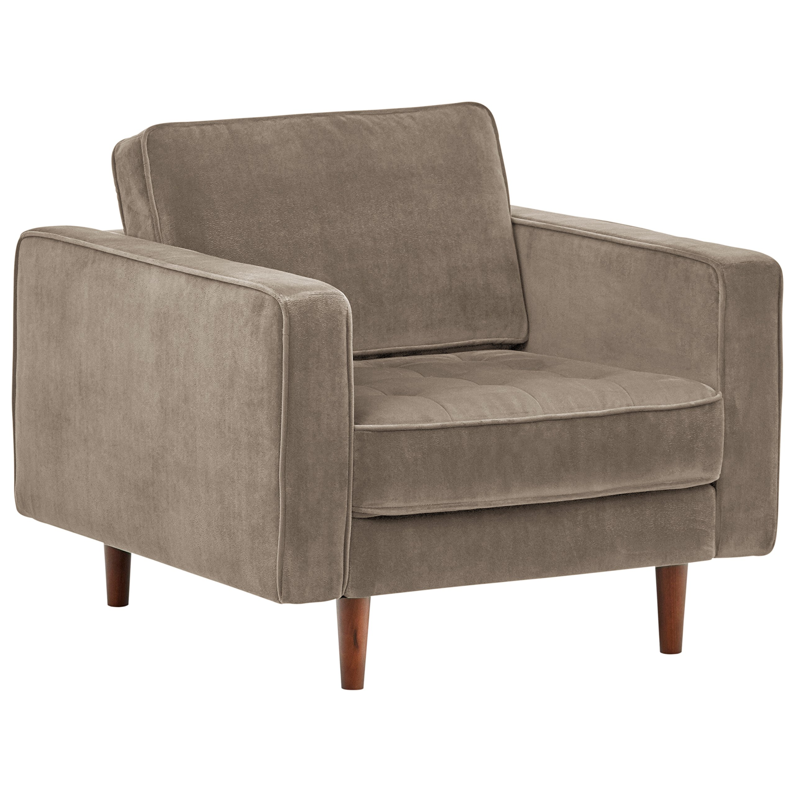 Rivet Aiden Tufted Mid-Century Modern Velvet Accent Chair, 35.4''W, Otter Grey by Rivet