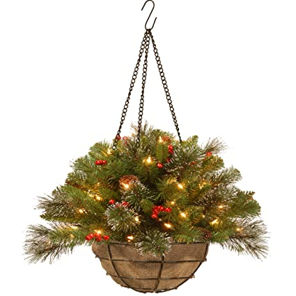 national tree 20 inch crestwood spruce hanging basket with silver bristle cones red berries - Christmas Hanging Baskets