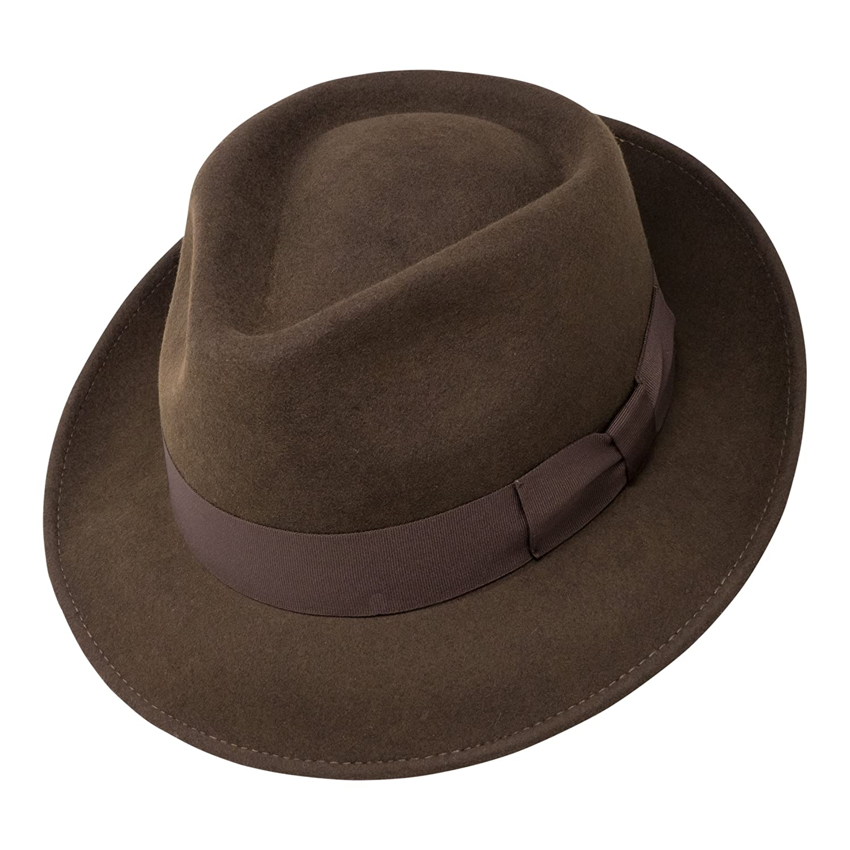 Borges   Scott B S Premium Doyle - Teardrop Fedora Hat - 100% Wool Felt -  Crushable For Travel - Water Resistant - Unisex at Amazon Men s Clothing  store  2df1a9df93d1