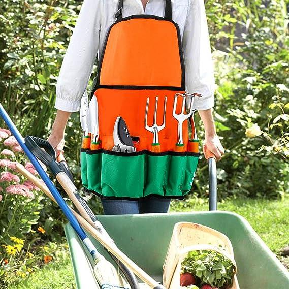 UKOKE Juego de herramientas de aluminio para jardín con delantal, bolsillo de almacenamiento y asa ergonómica para hombres 12 Piezas Naranja