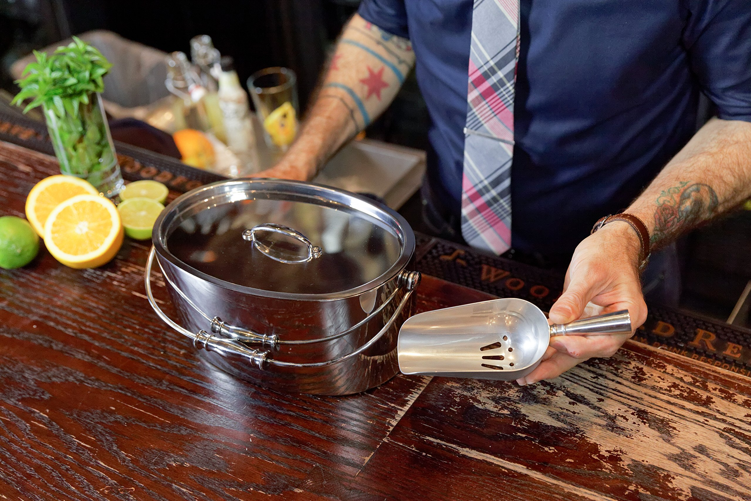 Crafthouse by Fortessa Professional Metal Barware/Bar Tools by Charles Joly, 12'' x 5.25'' Stainless Steel Ice Bucket with Handle and Drain Tray by Crafthouse by Fortessa (Image #7)