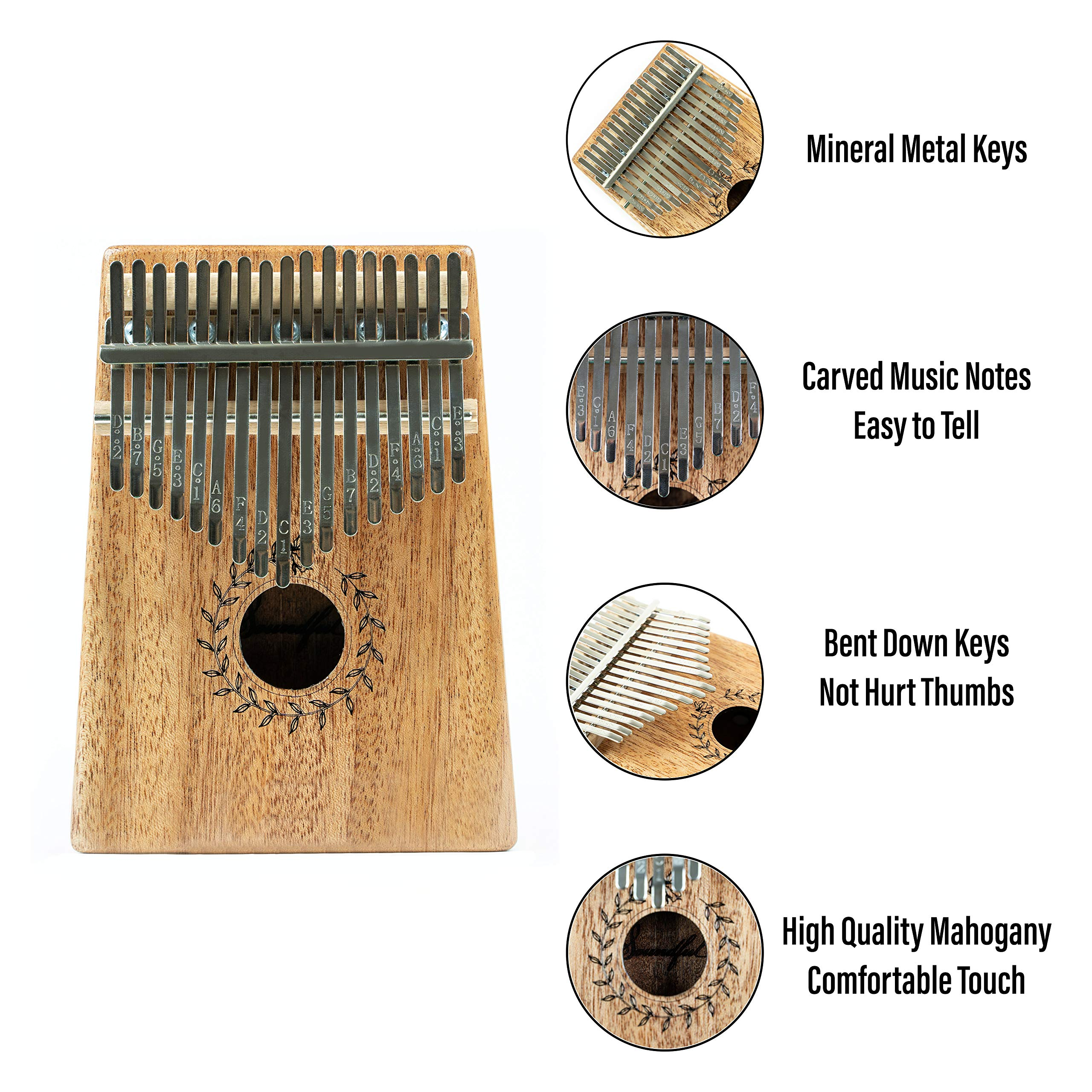 Soundful 17 Key Kalimba Thumb Piano, Solid Mahogany Body Finger Piano, Professional Mbira Musical Instrument with Tuning Hammer and Protective Case by Soundful (Image #3)