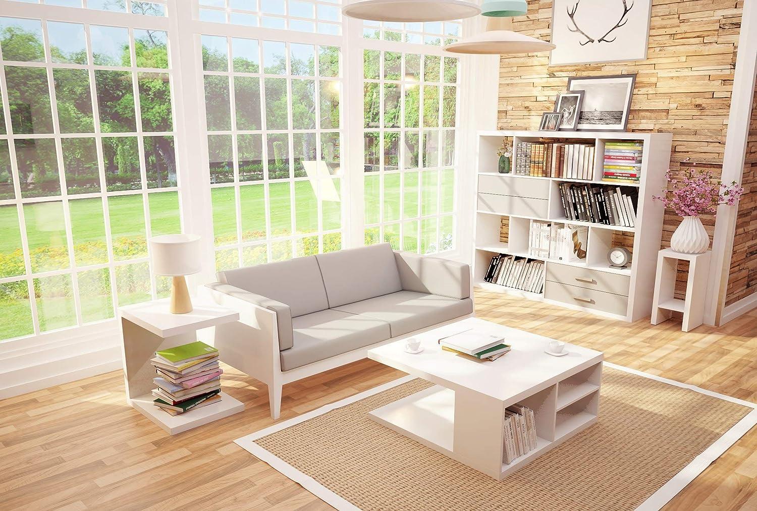 Bianco 80 x 80 x 40 cm Tavolino da Salotto con 4 cassetti e Ruote in Legno Phoenix Solina