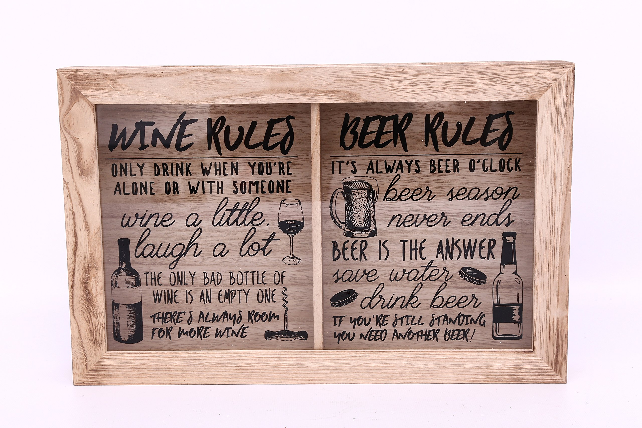 Wine / Cork & Beer / Cap ~ Collection Storage Box ~ Wooden ~ Wall Hanging