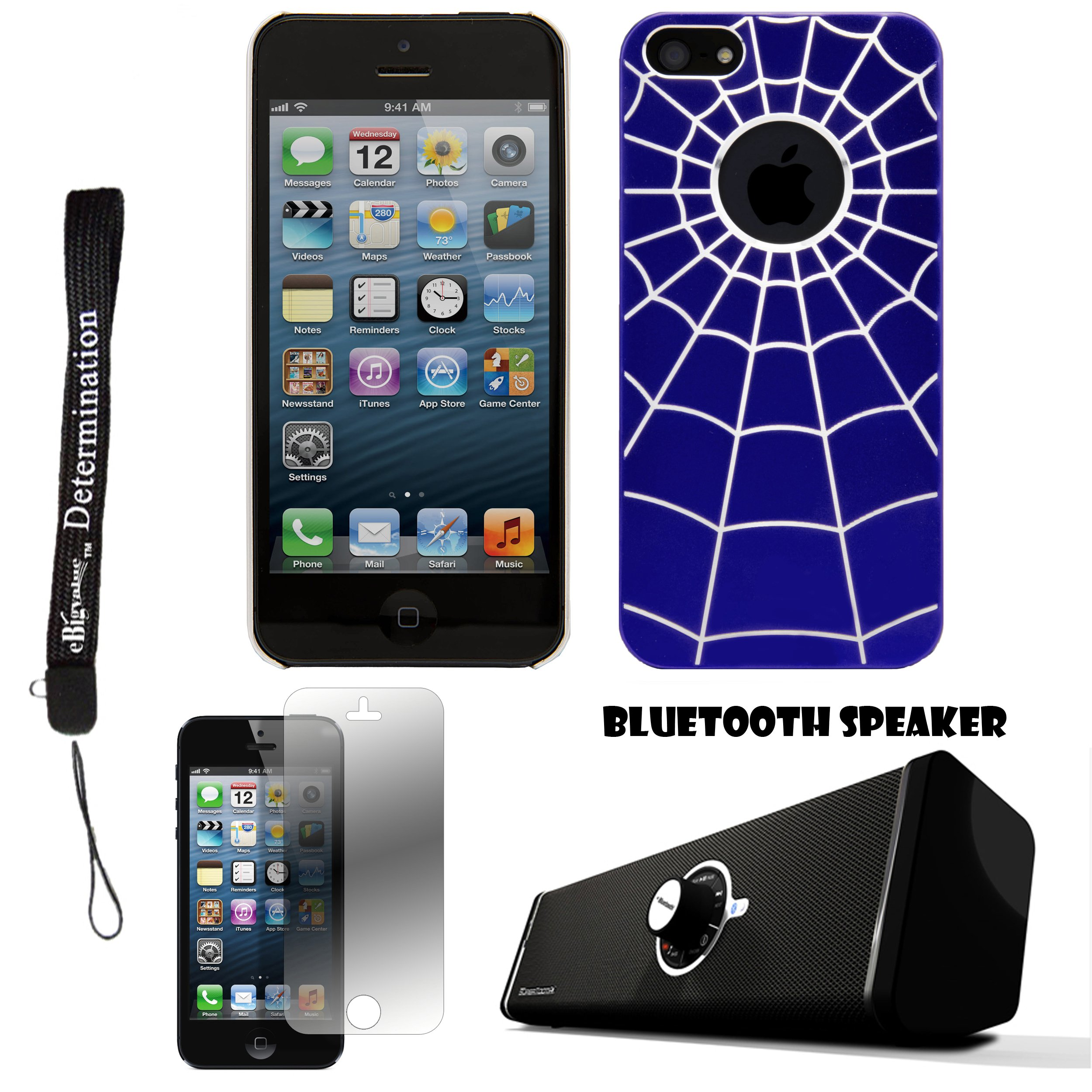 Blue Spider Web Design One-Piece Back Protective Cover For Apple iPhone 5 iOS (6) Smart Phone + Supertooth Disco Bluetooth Speaker with AUX Cable + Apple iPhone 5 Screen Protector + an eBigValue Determination Hand Strap