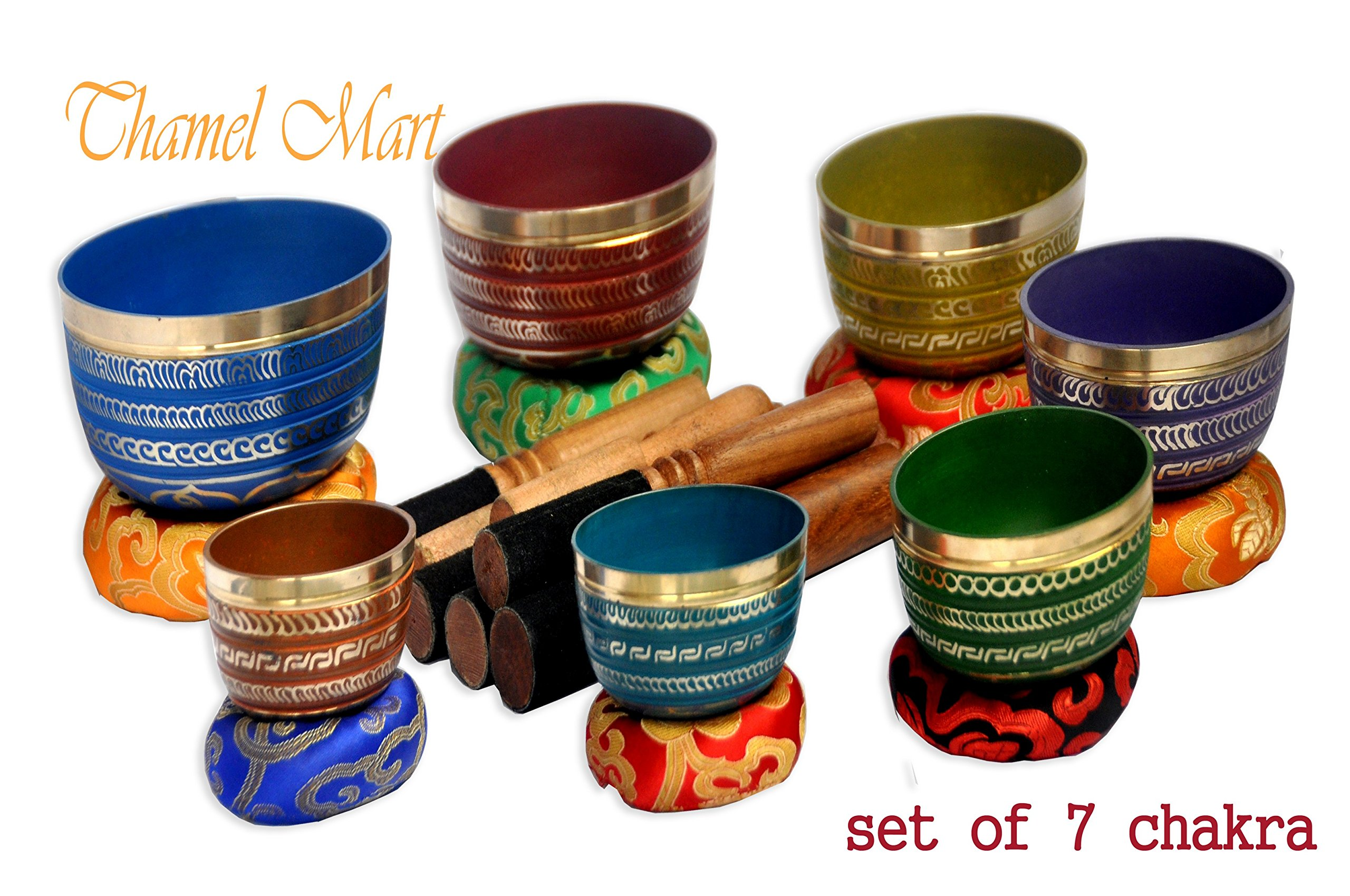 Chakra Healing Tibetan Singing Bowl Sets 7 Sets of Meditation Bowls From Nepal (seven colored) by TM THAMELMART FOR BEAUTIFUL MINDS