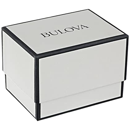 Bulova Men's Black Leather Strap Watch with Silver White Dial