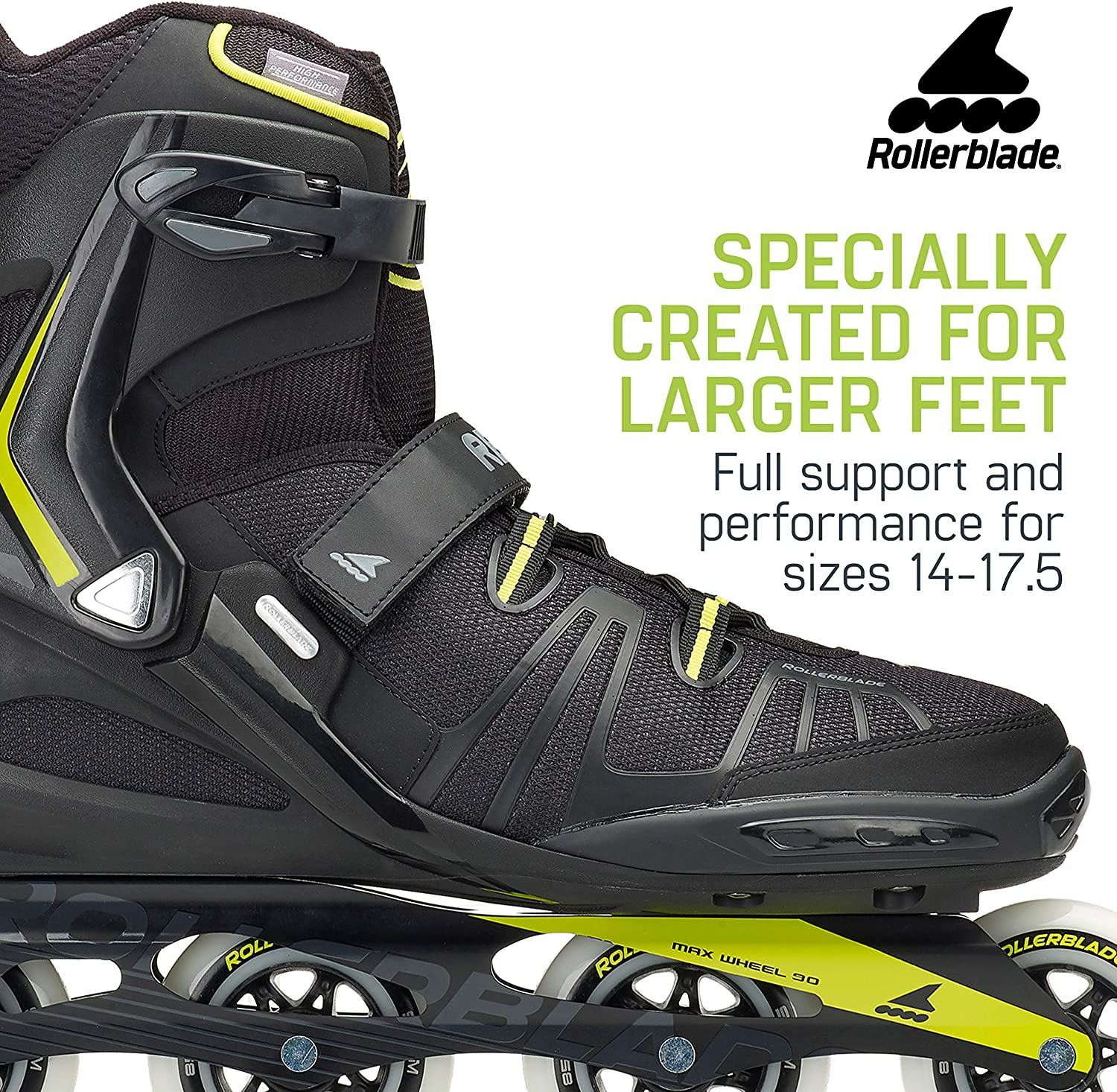 High Performance Inline Skates Rollerblade RB XL Mens Adult Fitness Inline Skate Black and Lime