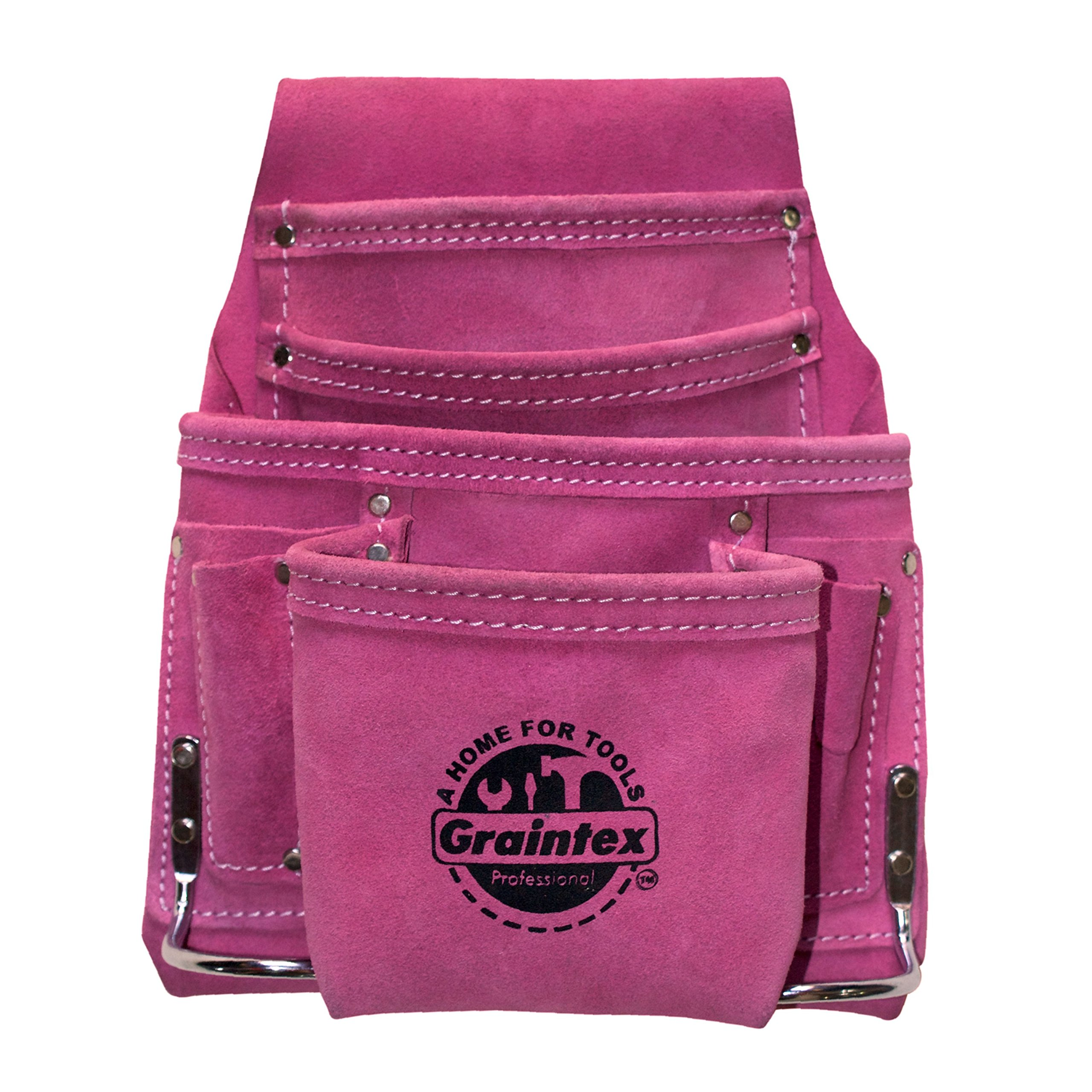 Graintex SS1186 Pink Leather 10 Pocket Tool Pouch