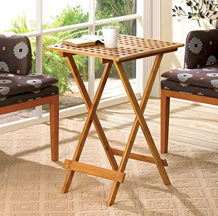 Incredible Amazon Com Bamboo Side Table Wooden End Table Foldable Download Free Architecture Designs Scobabritishbridgeorg