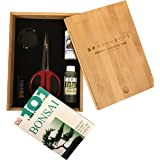 """Bonsai Tree Starter Tool Kit in Bamboo Box by Tinyroots. """"Anti-Intimidation"""" Starter Kit includes 101 Bonsai Tips Book, Butterfly Shears, MicroTotal Micronutrient Supplement, Fertilizer, Aluminum Wire, Mudman Figurine & Gorgeous Bamboo Storage Box"""
